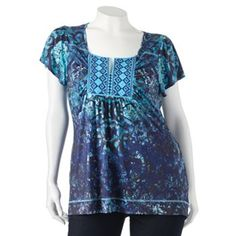 Apt. 9 Printed Embroidered Sublimation Top - Women's Plus