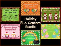 Save 6 dollars off the total cost of purchasing these products separately when you buy this bundle! Holidays included are: Halloween, Thanksgiving, Christmas, Valentine's Day, Saint Patrick's Day, and Easter. Each center/activity is aligned to a skill in the Foundational Reading strand of the Common Core Standards. Each center also includes practice pages in both color and black/white versions. $