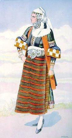 Macedonian Costume:  Greek Peasant Woman's #Dress (#Macedonia Asvestochori) northern #Greece