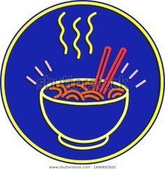 Retro style illustration showing a neon sign light signage lighting of a hot noodle bowl with chopsticks set in circle on blue background.