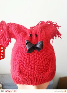 Sale   Christmas RED Hand knitted Owl beanie hat cap. by NesrinArt