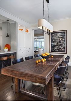 Modern rustic dining room {love the table - perfect for large gatherings}