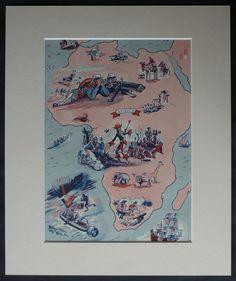 1950s Vintage Map of Africa Print Boys' by PrimrosePrints on Etsy