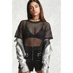 Forever21 Open-Mesh Crop Top ($13) ❤ liked on Polyvore featuring tops, black, crew top, boxy tops, crew neck crop top, short sleeve tops and forever 21 tops