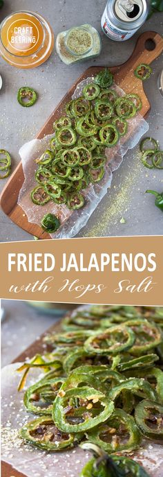Fried Jalapenos recipe. These fried jalapenos are thinly sliced, lightly dusted with flour then briefly immersed in hot frying oil and finished with hops salt. #friedjalapenos #jalapenos #Jalapenosrecipe #jalapenorings