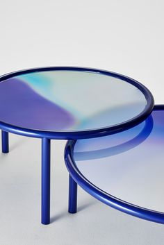 SUNSET Glas Italia Coffee Table L. SUNSET designed by Patricia Urquiola for Glas Italia is coffee table with metal tube structure and opal stratified glass top. The top is a palette of colors blending and mixing.