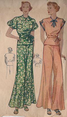 Love this 1930s pajama pattern.