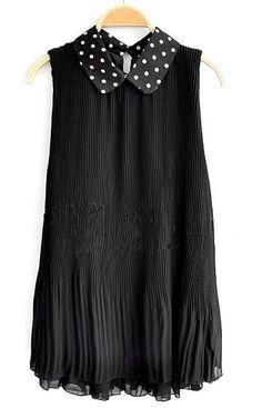 Black Lapel Sleeveless Polka Dot Loose Chiffon Dress