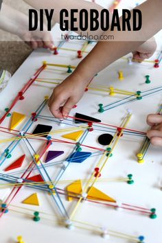 See how you can make your own DIY geoboard and get tons of inspiration for geoboard activities Math Games, Learning Activities, Kids Learning, Activities For Kids, Homeschool Math, Kitchen Pegboard, Kids Education, Educational Toys, Early Childhood