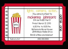 teen birthday party  on pinterest | etsy.comMovie Theater Birthday Party Invitation. From nattysuedesigns1
