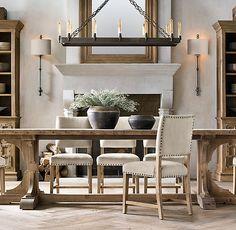 20th C. Reclaimed Pine Trestle Rectangular Dining Table