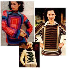 PDF Womens Colorful Crochet Knit Pullover  by MapsDNAandSpam
