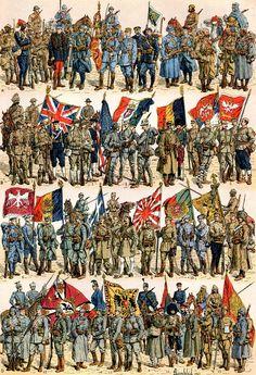 empress-auria: WW1 uniforms: A : France B : 1. British Empire; 2. USA; 3. Italy; 4. Belgium; 5. Serbia and Montenegro C : 6....