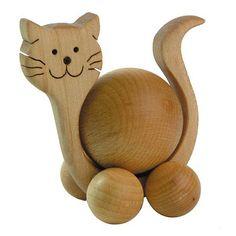 Chat en bois à boule à pousser- Ecodis- Bébé Petit Pom