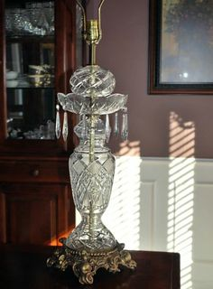 Large Antique Victorian Leaded Glass Cut Crystal Table Lamp on Heavy Brass Base