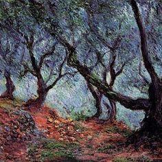 Monet (Parigi, 14 novembre 1840 – Giverny, 6 dicembre 1926), Ulivi a Bordighera (1884).
