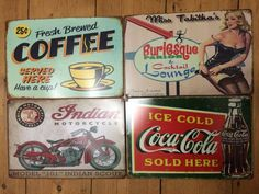 Rockabilly Retro Wedding Wall Decor - Vintage Style Tin Signs - Set of 4 Wedding Wall Decorations, Wedding Table Centerpieces, Rockabilly Decor, Neon Clock, Vintage Fashion, Vintage Style, Retro Home Decor, Tin Signs, Table Cards