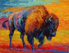 Bison Painting - Spirit Of The Prairie -  Bison by Marion Rose