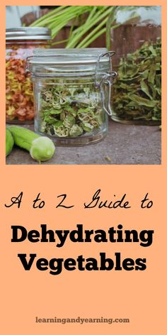 """Learn to dehydrate vegetables with this """"A to Z Guide to Dehydrating Vegetables"""" and get some natural, healthy ideas to use your dehydrated vegetables as well. Dehydrated Vegetables, Dehydrated Food, Dried Vegetables, Canning Food Preservation, Preserving Food, Canned Food Storage, Dehydrator Recipes, Survival Food, Survival Tips"""
