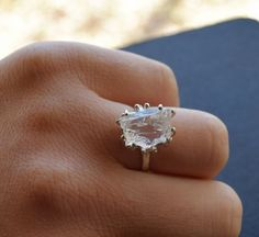 Diamond Engagement Ring Unique Rustic Raw Diamond Ring by Avello