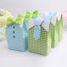 20 pcs My Little Man Blue Green Bow Tie Birthday Boy Baby Shower Favor Candy Treat Bag Wedding Favors Candy Box gift Bags