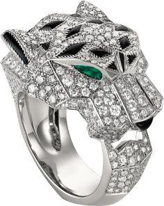 Panthère de Cartier ring, 18K white gold, set with 365 brilliant-cut diamonds totalling 2.55 carats. Emeralds, onyx.