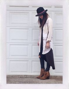 Anthropologie Hat, Free People Shirt, Urb Layering Shirt, Rag & Bone Jeans, Joe's Jeans Boots