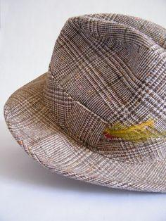 Vintage Mens Fedora Hat / Brown Tweed by ThriftyVintageKitten, $15.00