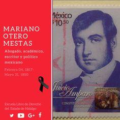 #UnDíaComoHoy pero de 1850, murió Mariano Otero Mestas, jurista, político y escritor de ideas liberales, promotor del juicio de amparo.#HistoriaDeMéxico #ELDEH #ConoceTuHistoria