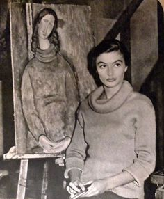 Anouk Aimée with a Modigliani painting, 1957 Modigliani Paintings, Amedeo Modigliani, Cinema Video, Anouk Aimee, Italian Paintings, Artists And Models, Portraits, Italian Artist, Figure Painting