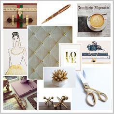 Gold Linen Memo Board. Parisian Inspired Gold Desk Accessories www.NoticeBoardStore.com