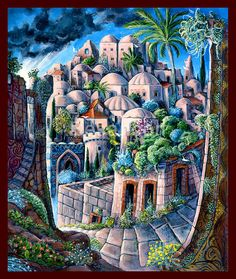 Jerusalem - oil on canvas by Rabbi Itzchak Bezanson The holy city in a jewish artist painting Israeli artist hasidic impression by talitcreation on Etsy