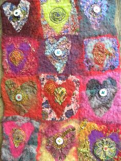 Indian inspired hearts felt hanging by gillpinkney on Etsy, £20.00