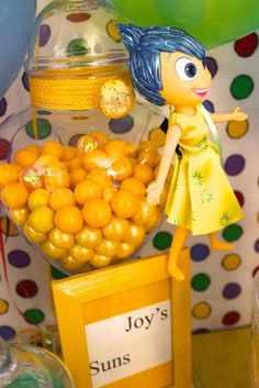 Joy's suns at an Inside Out birthday party! See more party ideas at CatchMyParty.com!