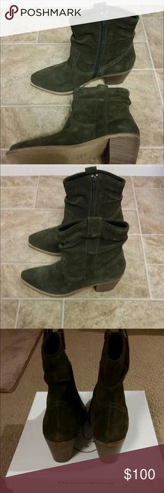 Brand New 'Danily' Booties ! olive suede booties. brand new with box. open to reasonable offers. Steve Madden Shoes Ankle Boots & Booties