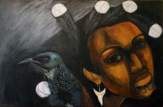 """Robyn Kahukiwa """"Te Tui Me Te Wahine"""" 101 x 152cm 2015"""
