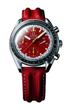"Omega Speedmaster Racing Schumacher (1996) - produced in both red and yellow versions, this Speedmaster with a vintage racing-style minute track was launched in a collaboration with racing legend Michael Schumacher, who became an Omega ""brand ambassador"" in 1996."