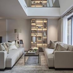 Beautiful lighting by John Cullen lighting in this double height book case in a London Apartment we have just completed. Home Living Room, Living Room Designs, Living Room Decor, Living Spaces, Bedroom Decor, London Apartment, Interior Decorating, Interior Design, Luxury Living