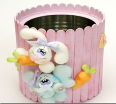 Popsicle Sticks and Tin Can Easter Tin Can Crafts, Jar Crafts, Easter Crafts, Diy And Crafts, Crafts For Kids, Arts And Crafts, Popsicle Stick Crafts, Popsicle Sticks, Craft Stick Crafts