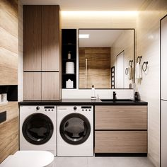 32 Inexpensive Tiny Laundry Room Design Ideas - Common Decorating for a Fresh Look Laundry Room Design, Home Room Design, Dream Home Design, Modern Bathroom Design, Bathroom Interior Design, Modern Laundry Rooms, Laundry Room Layouts, Laundry In Bathroom, Small Bathroom