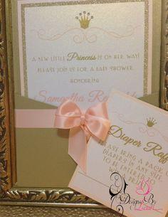 baby shower girl white pink princess damask card | elegant baby, Baby shower invitations