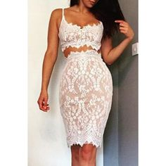 Sexy Spaghetti Strap Sleeveless White Lace Crop Top + Bodycon Skirt Women's Twinset
