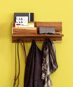 Wall Organizer for everything, jackets, bags, keys, mail, modern wood design at dotandbo.com