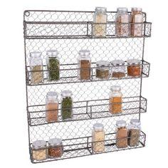 Spice Rack Organiser, Spice Storage, Pantry Storage, Storage Racks, Storage Ideas, Spice Rack Rustic, Wall Spice Rack, Boho Kitchen, Kitchen Decor