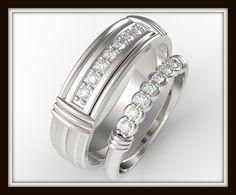 Juego anillo de bodas para su y ella único por Vidarjewelry en Etsy