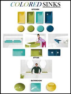 Jonathan Adler + Kohler, kitchen sinks, bathroom sinks, colored sinks, e-design, online interior design services