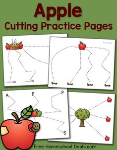 This is a post by Free Homeschool Deals contributor, Lauren Hill at Mama& Learning Corner. It is Apple Season - my favorite time of the year! And becau Preschool Apple Theme, Fall Preschool, Preschool Themes, Preschool Crafts, Preschool Apple Activities, Preschool Apples, Learning Activities, Kindergarten Apples, Cutting Activities
