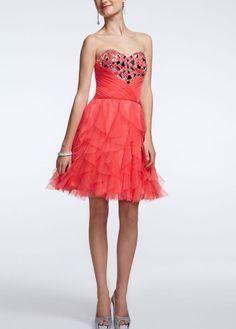 Strapless Cascade Ruffle Embellished Dress - David's Bridal