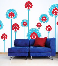 Flower Wall Decals  Large by WallGlitz on Etsy