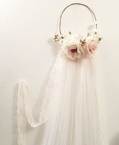 Blush pink flower crown flower crown veil by gardensofwhimsy